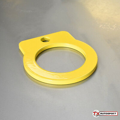 Flat Universal Tow Towing Eye Hook Short - 90mm Long - 55mm Loop - Yellow
