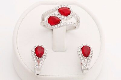 Turkish Handmade Jewelry Pear Drop Cut Ruby Topaz 925 Sterling Silver Set Ring 8