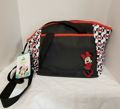 Disney Baby Minnie Mouse 5-in-1 Diaper Bag Tote Set Black Red Bows Red Trim