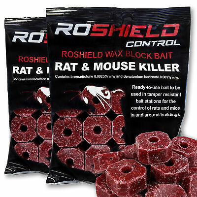 Rat and Mouse Killer Poison Bait Blocks x 30 - Kills Rodents Fast & HSE Approved