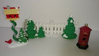 Dept. 56 Snow Village Tree Lined Picket Fence,A Home For The Holidays & Post Box