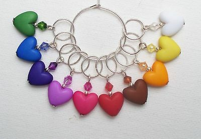 10 x Colourful HEART KNITTING Stitch Markers - 7.5mm