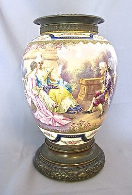 "19 th Century Sevres Hand painted Urn - Vase porcelain & bronze 12 1/2"" H (#799)"