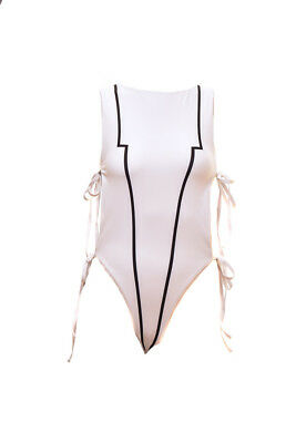 One Teaspoon Women's Swimsuit One Piece White Lines Size S RRP $79 BCF711