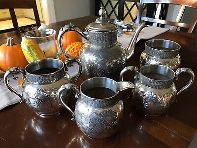Quadruple Plate Silver Tea Set of 5, circa 1885, matching numbers, great detail!