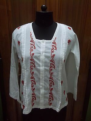"Ethnic Chikan Embroidery M 40"" Blouse 100% Cotton Kurti Handmade Top Kurta Tunic"