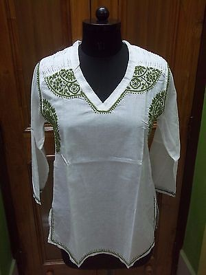 Xs 37 Blouse Handmade Tunic Kurta Ethnic Malmal 100%cotton Top Chikan Embroidery