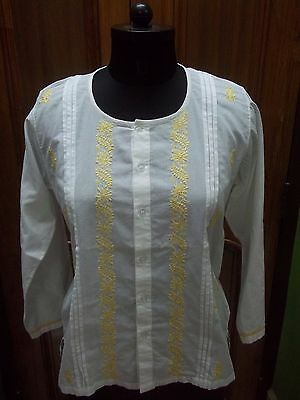 "Kurta Kurti Shirt M 40"" Ethnic Chikan Embroidery 100% Cotton Handmade Top Tunic"