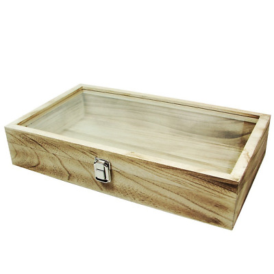 Display Box Natural Wood Glass Top Lid Pad Case Medals Awards Jewelry Oak New