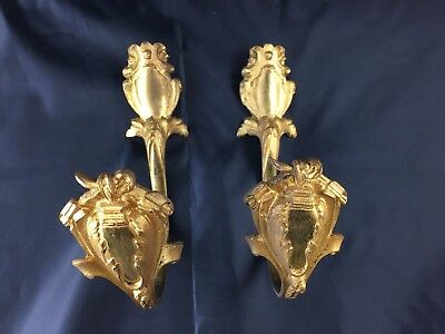Pair of Antique Pair French Ormolu Bronze Chateau Curtain Tie Backs Hooks XIXth