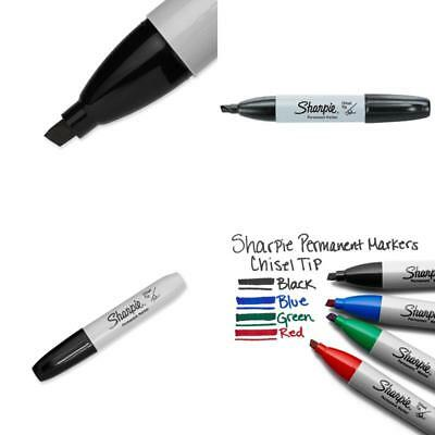 12 Count Sharpie Permanent Markers Chisel Tip BlackInk Bold Point Resilient Pen