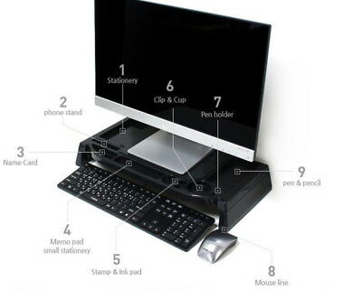 LED LCD Monitor Stand Cradle Desk organizer Office various storages Computer W