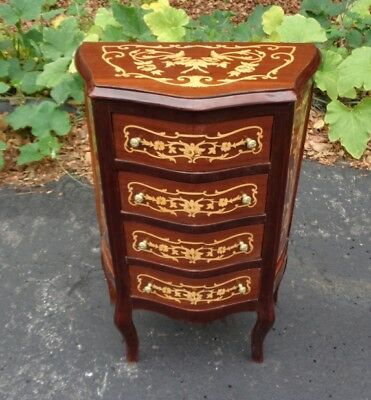superb forms and marquetry side commode Louis style side table