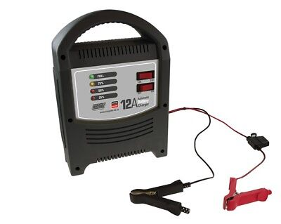MAYPOLE Battery Charger 12A - 12V/24V - LED Automatic - MP7112 |Next working day
