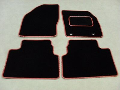 Ford Kuga 2008-12 Fully Tailored Deluxe Car Mats in Black with Red/Silver Trim