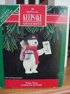 Polar Bear w REAL COMPASS  MAILMAN mail postal 1992 HALLMARK CHRISTMAS ORNAMENT