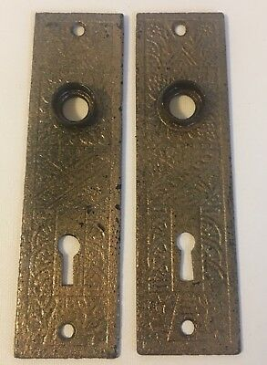 PAIR Antique Victorian Eastlake Iron Door Plates Architectural Salvage