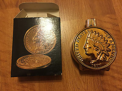 Avon Indian Head Penny Tribute Aftershave Bottle Full Vintage