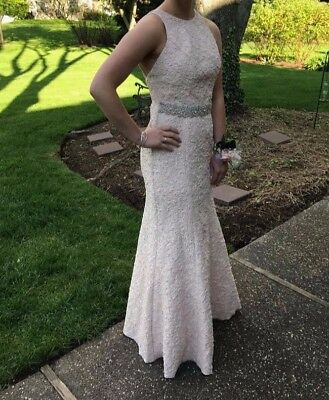 Prom dress, light pink with silver waist band, size 2
