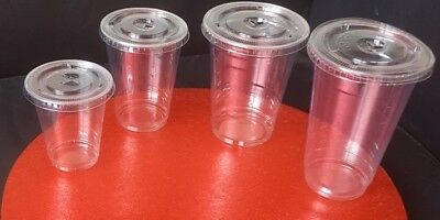 Smoothie Cups & Lids SOLO 10oz,12oz,16oz Disposable Domed Lids or Flat PET LIDS