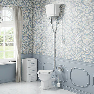 Traditional Cloakroom Toilet High Level WC Unit Victorian Design
