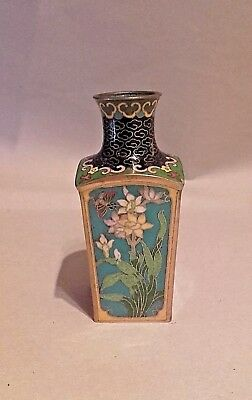 SMALL 19th CENTURY CHINESE CLOISONNE BOTTLE SQUARE SECTION