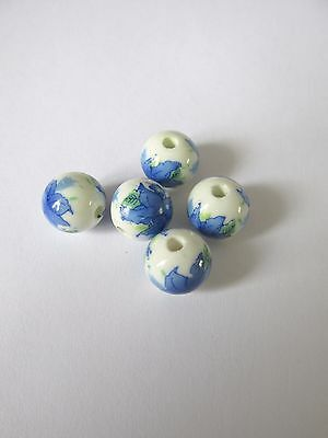 20pcs 12mm porcelaine blue flower loose beads jewellery making UK
