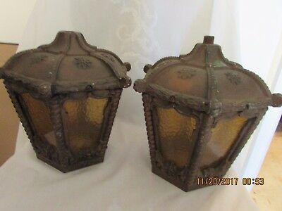 2 Antique VTG  VICTORIAN OUTDOOR WALL PORCH LIGHT SCONCE SHADES