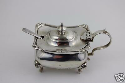 Solid Sterling Silver Mustard Pot by Henry Matthews Birmingham 1896 With Glass