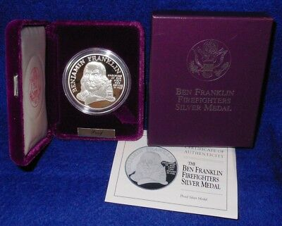 1993-P Ben Franklin Firefighters Medal..1 Oz. .999 Fine Silver..proof..box & Coa