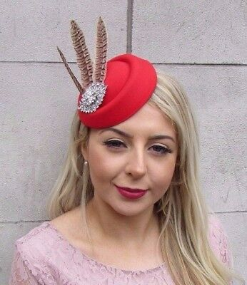 Red Silver Brown Pheasant Feather Pillbox Hat Hair Clip Fascinator Races 4596