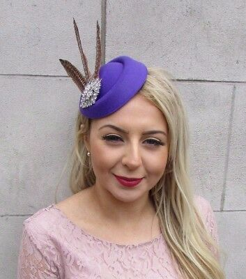 Purple Silver Brown Pheasant Feather Pillbox Hat Hair Clip Fascinator Races 4597