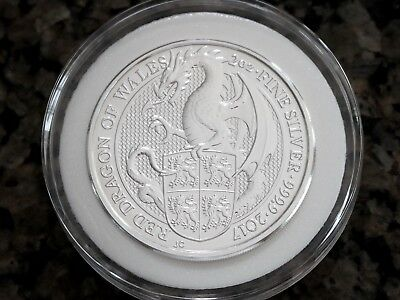 2017 UK 2oz Queen's Beasts .9999 Silver Red Dragon BU, No Reserve Free Shipping!