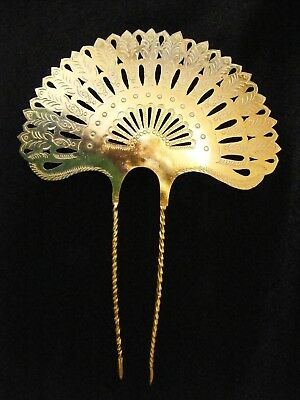 Indonesian/Bali Hair Comb Ornament, Repousee/Pierced Light Metal