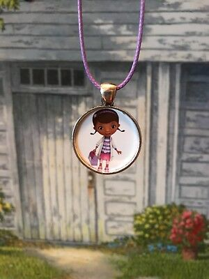 Doc McStuffins holding her doctors bag light purple adjustable Necklace