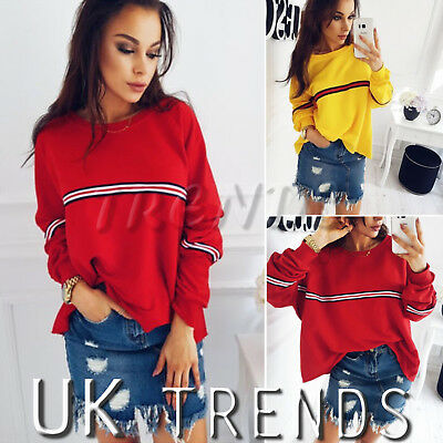 UK Womens Striped Baggy Oversized Jumper Pullover Top Sweater Sweatshirt Ladies