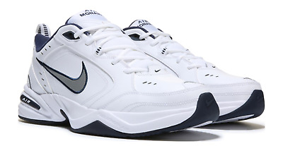 Nike AIR MONARCH IV Mens White Silver Navy Size 8 Lace Up Running Training Shoes