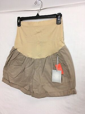 A Glow Maternity Shorts Size 8 Belly Panel Cuffed Hems Twill Paper Bag Beige NWT