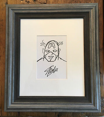 INCREDIBLY RARE Stan Lee Signed Captain America Sketch with COA   One of a Kind!