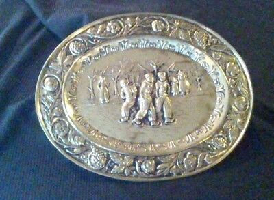 Vintage Decorative Brass Wall Hanging Plate-Ice Skating Plate - Made in England