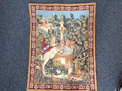 Unicorn at a Well medieval style tapestry wallhanging