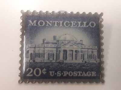 Monticello 20 cent U.S. Postage Stamp Pin -New