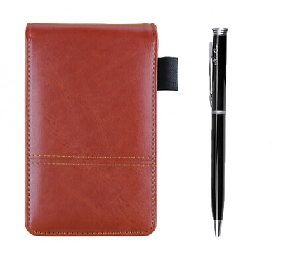 Leather Business Notepads Calculator Small Pocket Jotter Memo Notebook-Red Brown