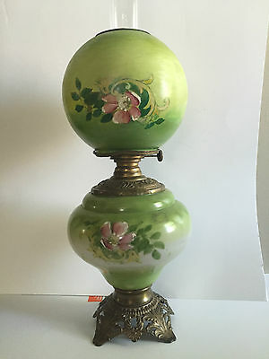 Antique Gone With the Wind GWTW Kerosene Oil Hand Painted Green Lamp- NEW PRICE!
