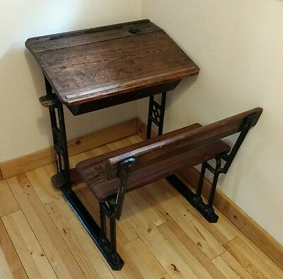 Vintage Victorian wooden school desk with iron legs