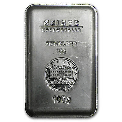 100 gram Silver Bar - Geiger (Security Line Series, Scruffy) - SKU#84425
