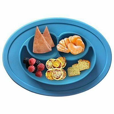 Happy Silicone Mat Food Tray Placemat Mini Plate Bowl with 3 Compartments Blue