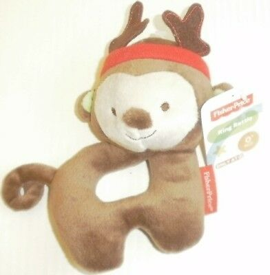 """New FISHER-PRICE Monkey Reindeer Ring Rattle Plush Soft Baby Toy 7"""" Christmas"""