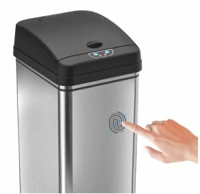 Stainless Steel 13 Gallon Motion Sensor Trash Can, Touchless Deodorizer Bin