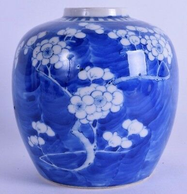 chinese blue & white porcelain vase jar prunus 17th 18th c prob kangxi khang shi